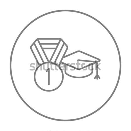 Laurea cap medaglia line icona web Foto d'archivio © RAStudio