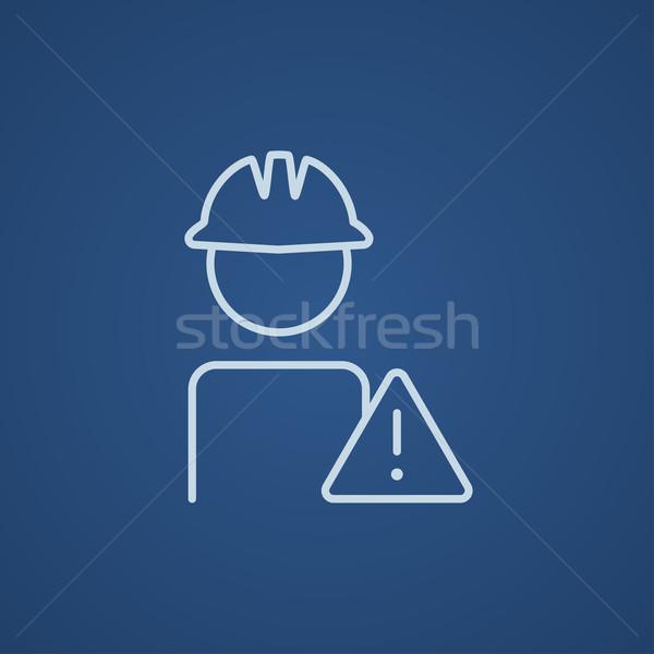 Trabajador precaución signo línea icono Foto stock © RAStudio