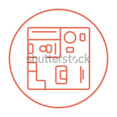 House interior with furniture line icon. Stock photo © RAStudio