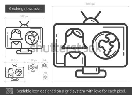 Telewizja sprawozdanie line ikona internetowych komórkowych Zdjęcia stock © RAStudio