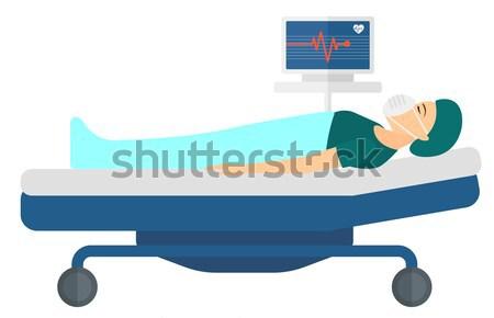 Beteg ágy kórházi ágy szívritmus monitor vér Stock fotó © RAStudio
