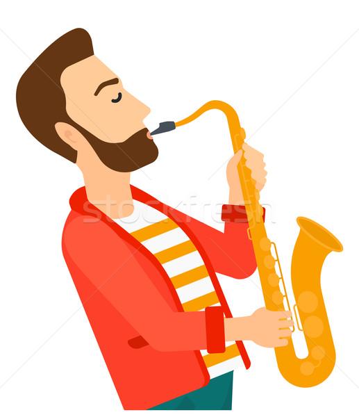Man playing saxophone. Stock photo © RAStudio