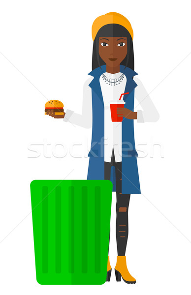 Nő dob egészségtelen étel szemét tároló vektor Stock fotó © RAStudio