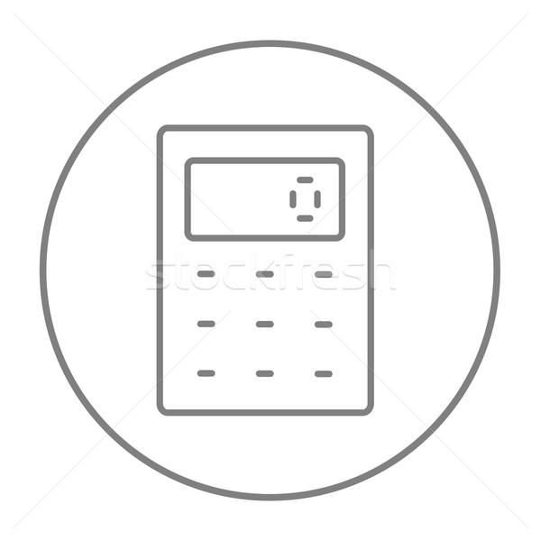 Kalkulator line ikona internetowych komórkowych infografiki Zdjęcia stock © RAStudio