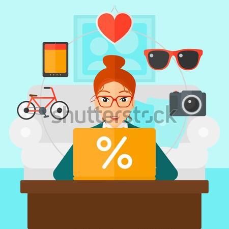 Stockfoto: Klant · laptop · man · vergadering · iconen · goederen