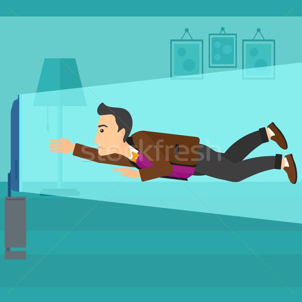 Homem sofrimento tv voador tela Foto stock © RAStudio