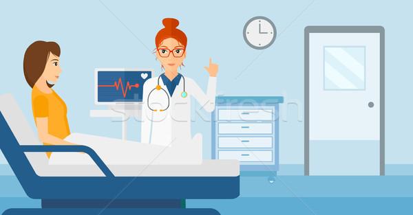 Сток-фото: врач · пациент · ухода · больницу · частота · сердечных · сокращений