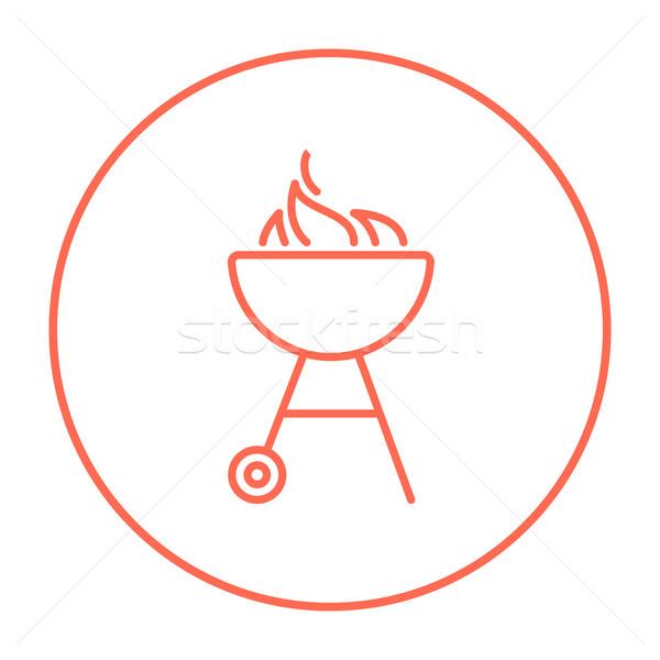 Bogrács barbecue grill vonal ikon láng háló Stock fotó © RAStudio