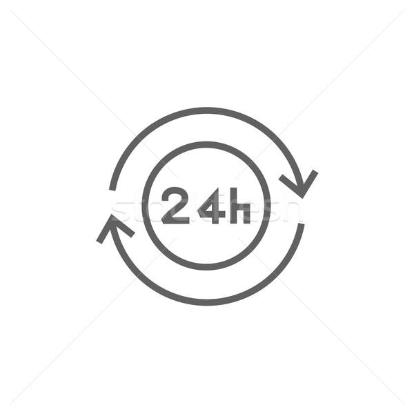 Hizmet 24 hat ikon köşeler web Stok fotoğraf © RAStudio