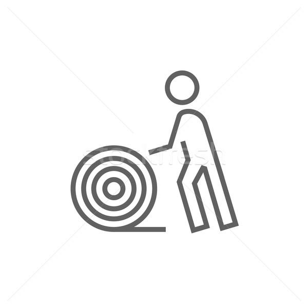 Man with wire spool line icon. Stock photo © RAStudio