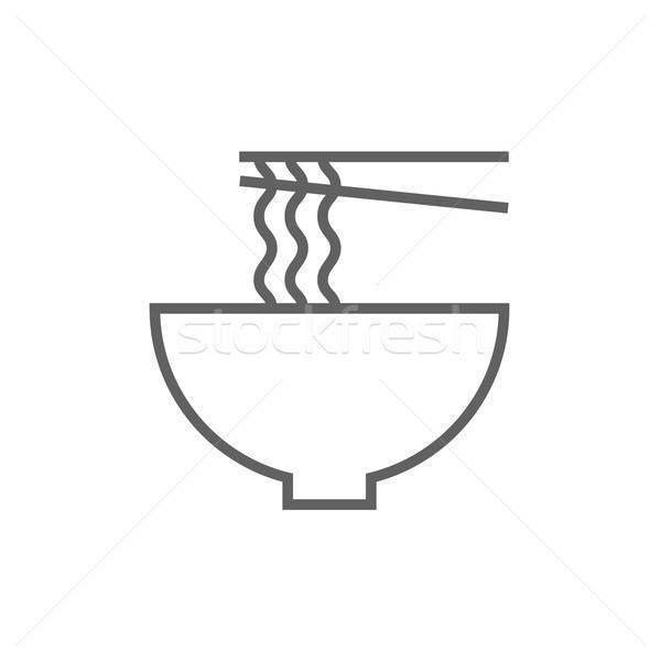 чаши пару палочки для еды линия икона Сток-фото © RAStudio