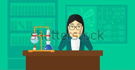 Kobieta rozpacz głowie asian chemia laboratorium Zdjęcia stock © RAStudio