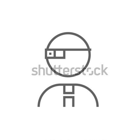 Man in augmented reality glasses line icon. Stock photo © RAStudio