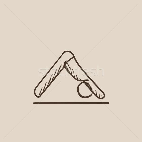 Man oefenen yoga schets icon permanente Stockfoto © RAStudio