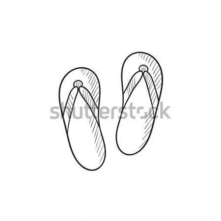 Plaj terlik kroki ikon web hareketli Stok fotoğraf © RAStudio