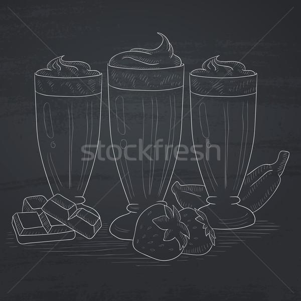 Banana, strawberry and chocolate smoothies. Stock photo © RAStudio