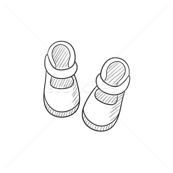 Baby booties sketch icon. Stock photo © RAStudio