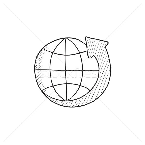 Föld nyíl körül rajz ikon vektor Stock fotó © RAStudio