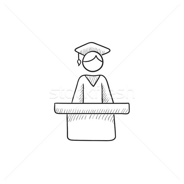 Graduate standing at the tribune sketch icon. Stock photo © RAStudio