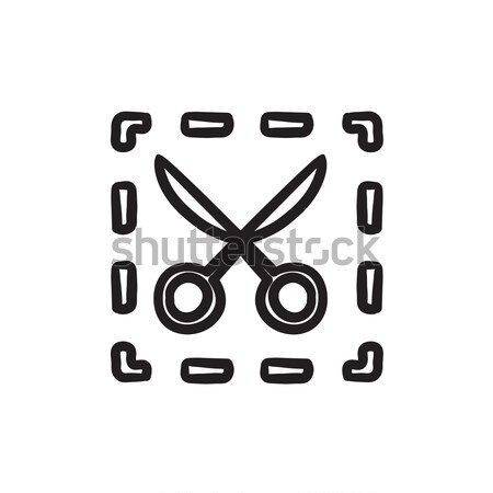 Scissors with dotted lines sketch icon. Stock photo © RAStudio