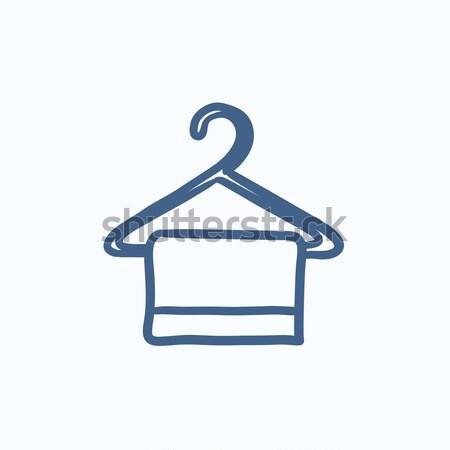 Stok fotoğraf: Havlu · kroki · ikon · vektör · yalıtılmış