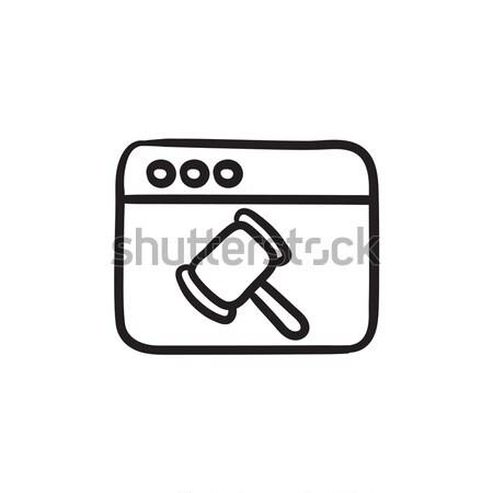 Böngésző ablak bíró kalapács rajz ikon Stock fotó © RAStudio