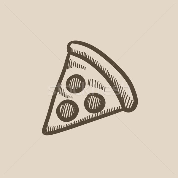Pizza slice schets icon vector geïsoleerd Stockfoto © RAStudio