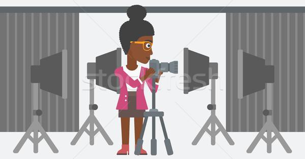 Fotograaf werken camera foto studio Stockfoto © RAStudio