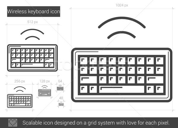 Kablosuz klavye hat ikon vektör yalıtılmış Stok fotoğraf © RAStudio
