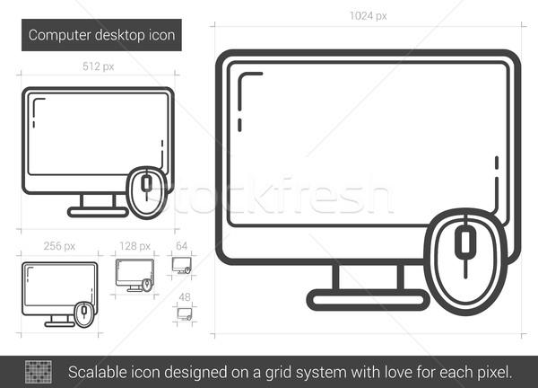 Computador área de trabalho linha ícone vetor isolado Foto stock © RAStudio