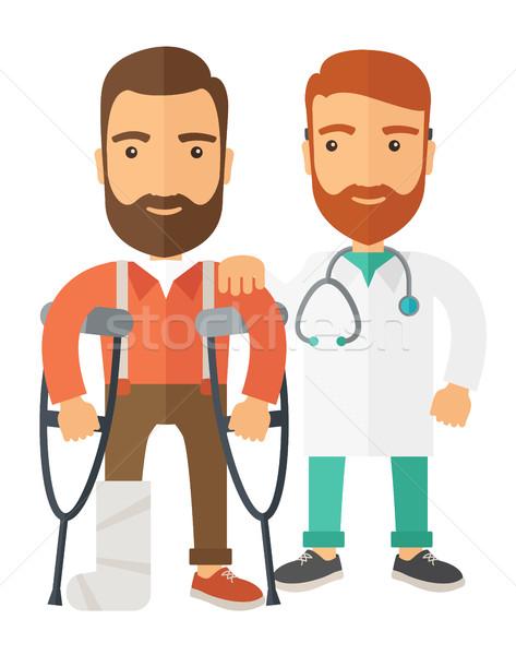 Gewond man arts krukken veiligheid tijdgenoot Stockfoto © RAStudio