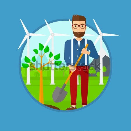 Man plants tree vector illustration. Stock photo © RAStudio