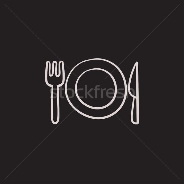 Placa cubiertos boceto icono vector aislado Foto stock © RAStudio
