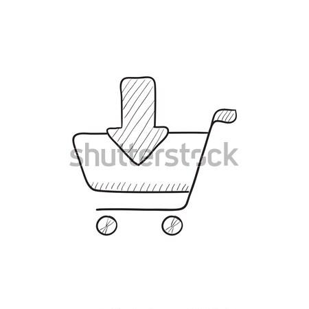 Online alışveriş araba kroki ikon vektör yalıtılmış Stok fotoğraf © RAStudio