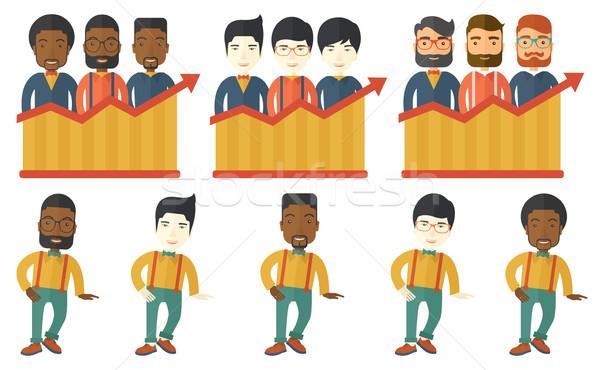 Vettore set illustrazioni uomini d'affari di successo squadra di affari Foto d'archivio © RAStudio
