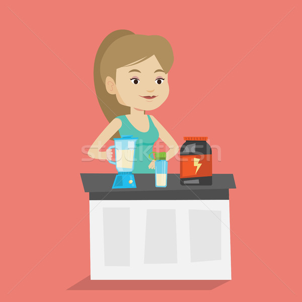 Young woman making protein cocktail. Stock photo © RAStudio