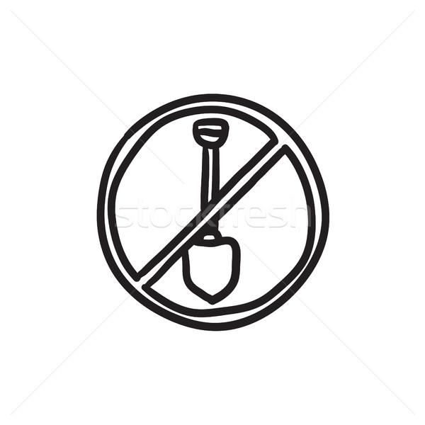 Pelle interdit signe croquis icône vecteur Photo stock © RAStudio