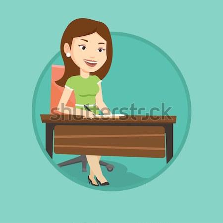 学生 書く デスク 白人 座って 表 ストックフォト © RAStudio