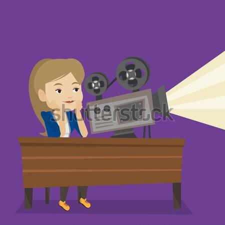 Stockfoto: Kaukasisch · tonen · nieuwe · film · vrouw · vergadering