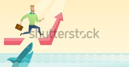 Zakenvrouw springen oceaan haai zakenvrouw lopen Stockfoto © RAStudio