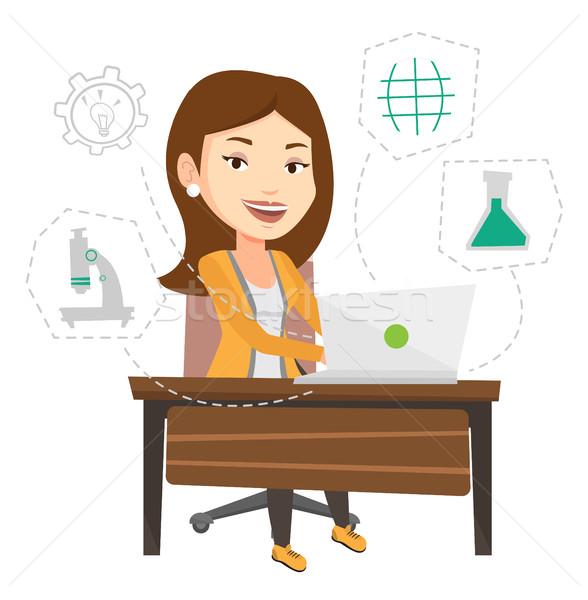 Student working on laptop vector illustration. Stock photo © RAStudio