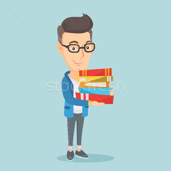 человека книгах молодые кавказский Сток-фото © RAStudio
