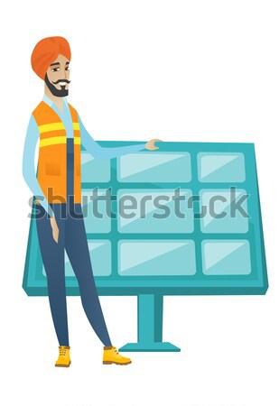 Young african worker of solar power plant. Stock photo © RAStudio