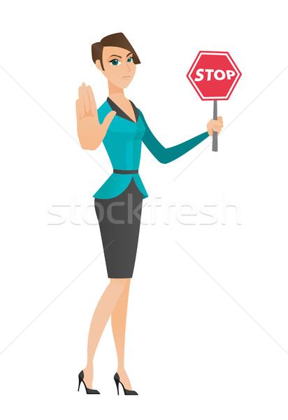 Stok fotoğraf: Kafkas · iş · kadını · durdurmak · yol · işareti