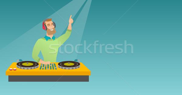 Musique platines barbe jouer pont Photo stock © RAStudio