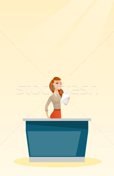 Television anchorwoman in the studio. Stock photo © RAStudio