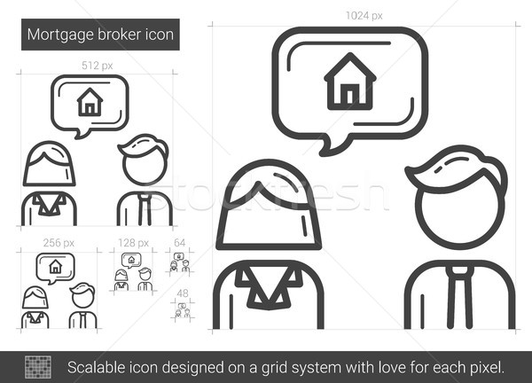 Hipoteka pośrednik line ikona wektora odizolowany Zdjęcia stock © RAStudio