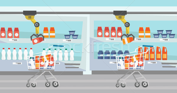 Robotic arm putting groceries in shopping trolley. Stock photo © RAStudio