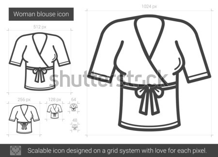 женщину блузка линия икона вектора изолированный Сток-фото © RAStudio