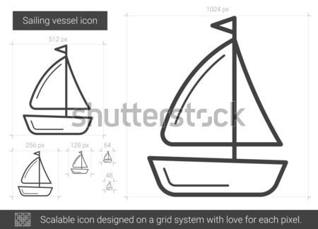 Zeilen lijn icon vector geïsoleerd witte Stockfoto © RAStudio